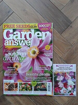 Garden Answers Magazine - October 18 in Excellent Condition Includes Free Seeds