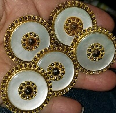 Rare ! Set of 5 ANTIQUE BUTTONS~MOTHER OF PEARL ,BRASS ,RHINESTONES STUNNING!