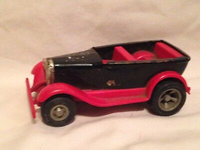 "Vintage Tonka Red black old fashion style Metal Car 1970's-4 1/2""-rare-topless"