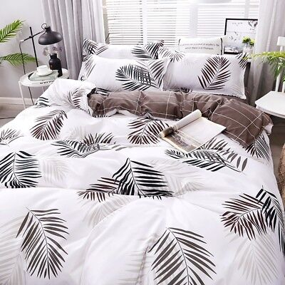 Wild Leaf Quilt Duvet Doona Cover Set King Single/Queen/King Size Bed Pillowcase