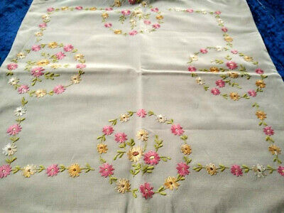 Lovely Coral Pink/Gold Daisy Circles Cushion Cover  Vintage Hand Embroidered