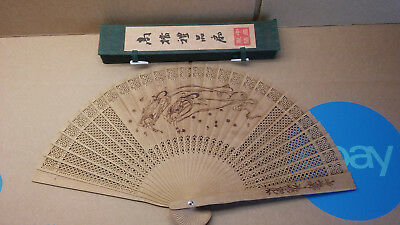 Vintage Chinese Wood Fan in box with figures on panels two sided