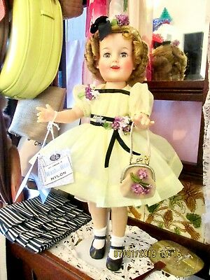 Shirley Temple Doll 19''  Nylon Party Dress  Beautiful Tagged Original 1950's