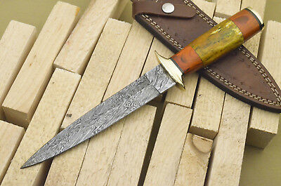 A.Stokes HAND MADE DAMASCUS STEEL DAGGER HUNTING KNIFE- STAINED BONE -FR-1232
