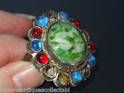 Antique Vintage Victorian Gold Ptd Large Huge Czech Glass Dress Ring Art Nouveau