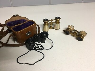 CARL ZEISS JENA binoculars with case and two other Paris Tres pairs