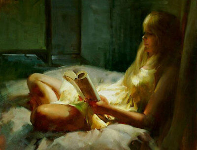 ZWPT591 long hair girl reading on the bed  hand painted art oil painting canvas