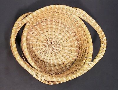 Unique Indigenous Sapelo Island Hand Crafted Woven Basket W/ Handles By Yvonne