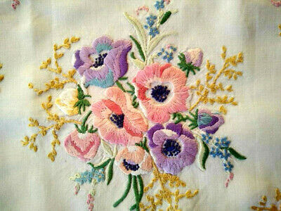 Stunning Anemone Large Cushion Cover  Vintage Hand Embroidered