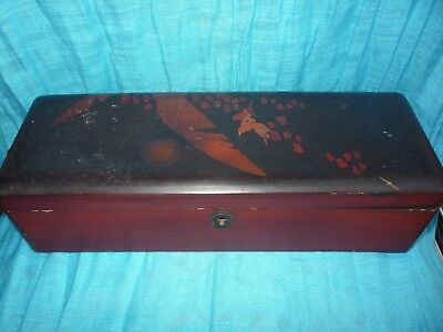 Vintage Lacquered Box Japanese Oriental Wooden Box 31 cm