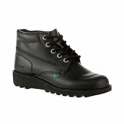 Rrp £89 Mens Kickers Kick Hi Core Black Leather Boots 9 Uk 43 Eu Reduced Bargain