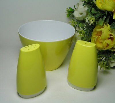 Vintage RETRO Yellow ORNAMIN WARE Melmac SUGAR BOWL and SALT & PEPPER Shakers