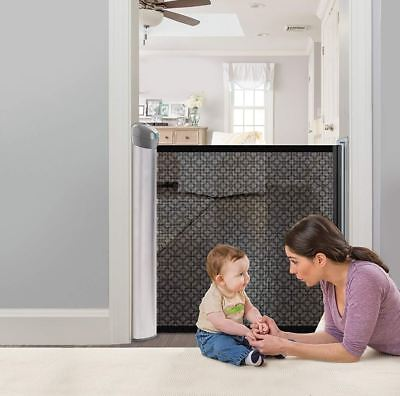 Retractable Baby Gate 50 Inch Mesh Fence Safety Panel Doorway Top Of Stairs Kids