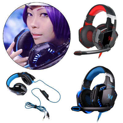 3.5mm Gaming Headset MIC LED Headphones Surround for PC Mac Laptop PS4 Xbox One