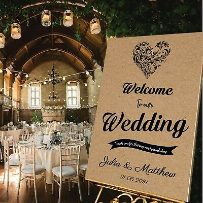 Personalised WEDDING WELCOME SIGN - KRAFT HEART