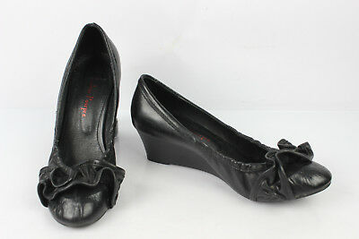 281f87973 Court shoes Wedge Heels COULEUR POURPRE Black Leather T 38 VERY GOOD  CONDITION