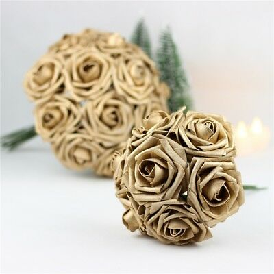 5pcs Colourfast Foam Roses Artificial Fake Flower Party Wedding Home Decor Gold