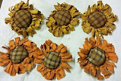 Primitive  Bowl Fillers/Orange/Yellow Sunflowers/Brown Plaid Center/Grunged Fall