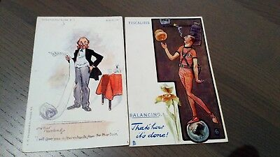 Bargain group of 2 rare hand coloured vintage political 'Fiscal' postcards