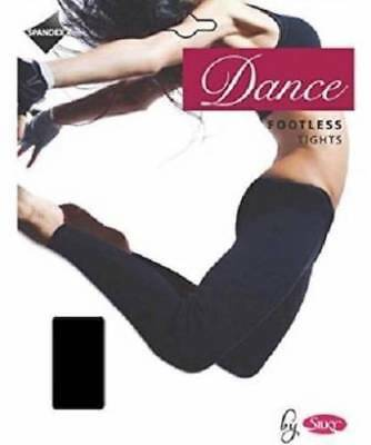 Girls Footless Dance Tights Black Age 5-7 Years By Silky Children Dance