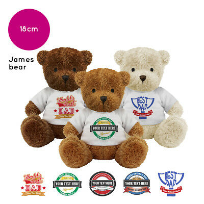 Personalised Name Fathers Day James Teddy Bear Presents Gifts for Dad Grandad