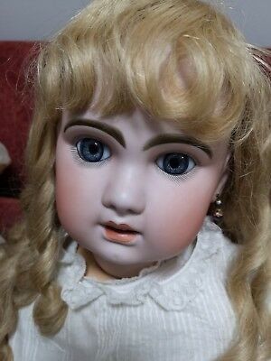 "Antique French Bebe Jumeau 31""Bisque Child Doll, human hair wig, perfect."
