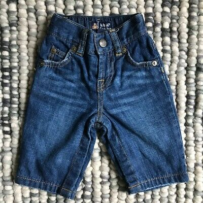 BABY GAP Baby Boys Size 3-6 Months Blue Lined Jeans Pants - Press Stud Inner Leg