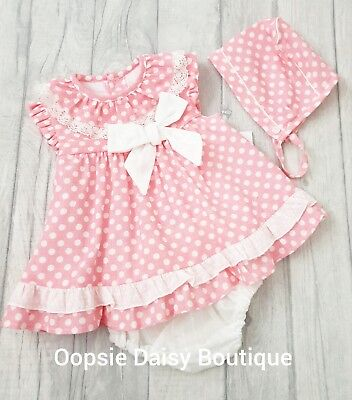 Girls Spanish Pink Polka Dot Ribbon Dress Set With Bonnet - 3mths Upto Age 3yrs