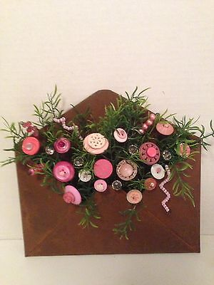 VTG Valentine Button Bouquet/Envelope-Country-Farmhouse-Prim-Shabby Cottage Chic