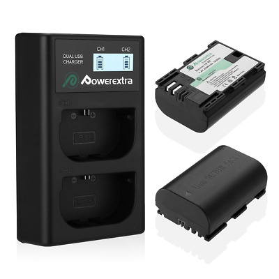Powerextra 2 X LP-E6 LP-E6N Rechargerable Battery and Dual LCD Charger...