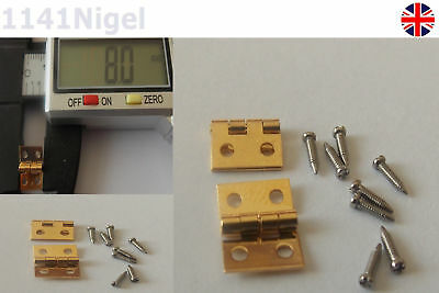 8mm SOLID BRASS HINGES + SCREWS Dollhouse Jewellery Chest Door     (Pack of 1-6)