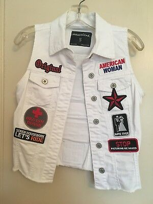 MUST SEE!!! Custom Patched Ladies White Denim Motorcycle Riding Vest Size Small