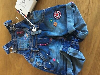 Next Baby Girls Denim Dungarees @ Tights Age 3-6 Months New