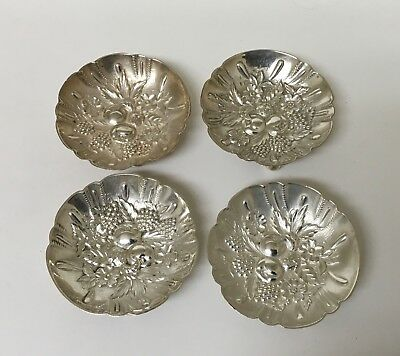 """Kirk Repousse Floral Sterling Silver 2 1/2"""" Nut/Mint Dishes x 4 Exc."""