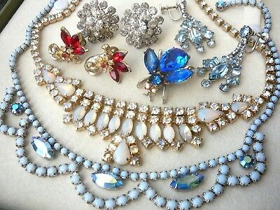 Vintage Estate Rhinestone Jewelry Lot-Choker Necklaces-Earrings-Bumble Bee Pin