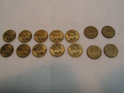 10 Car  Wash  Tokens   Vintage  Excellent + (Bonus 4 Good) 14 Total.