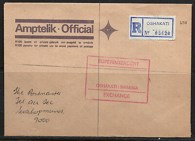 Namibia 90s Official R Cover Oshakati 05-1993 Superintendent Exchange