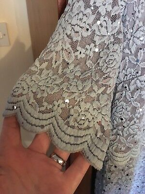 Per Una Size 14 Mother Of The Bride Pale Blue Lace Dress With Sparkle