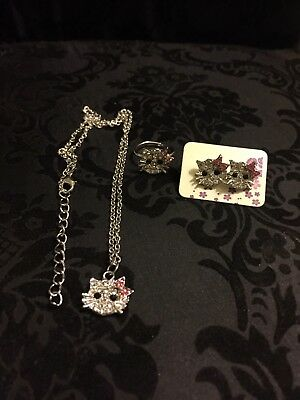 Hello Kitty Jewlery New Earrings,Ring,necklace Hot White Pink Stone