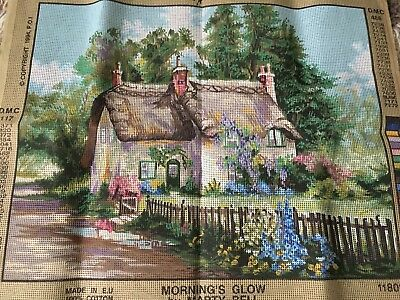 Large Printed Tapestry Canvas Village Scene Thatched Cottage 20 X 15.1/2 ""