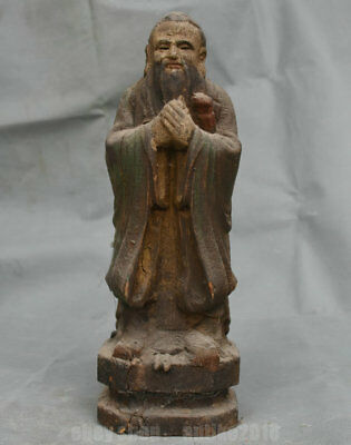 """12"""" Rare Old China Wood Dynasty Palace Stand Lao Zi Lao Tzu People Sculpture"""