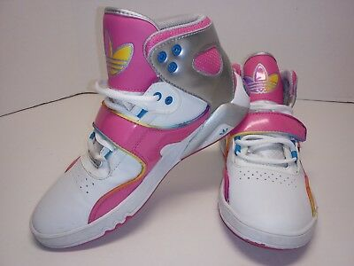 ADIDAS VINTAGE Girls High Tops Shoes Size 6 Pink, White Purple, Yellow &Blue.