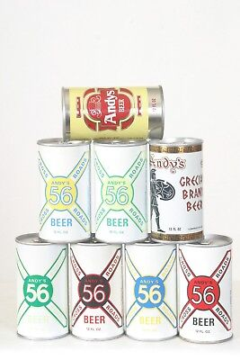8 Andy's Beer Cans - 12oz - Bottom Opened