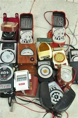 Bundle Of 13x Vintage Light Meters Most In Cases Photography Accessories