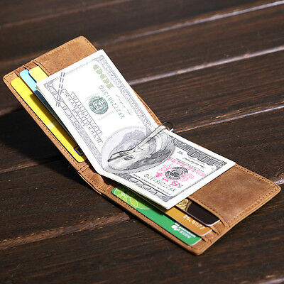 Men Crazy Horse Leather Bifold Spring Money Clip Slim Thin Wallet Card Holder