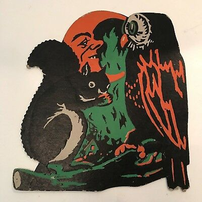 Vintage Halloween Cardboard Diecut Die Cut Beistle Squirrel Owl Moon 1930s-1950s