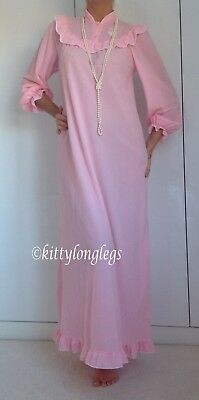 Vintage Long Pale Pink Brushed Soft Nylon Nightie Night Gown size W
