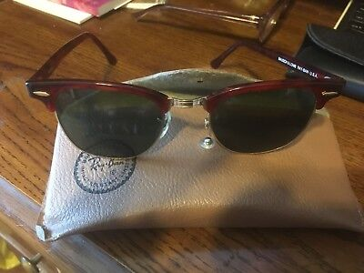 Rare Vtg Tortoise Ray Ban Clubmaster sunglasses Bausch & Lomb W0366 With Case