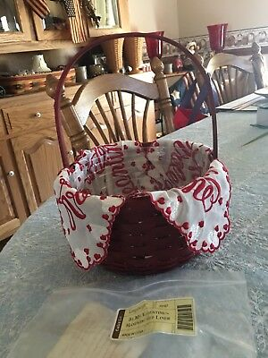 Longaberger 2005 Be My Valentine Basket With Protector & Handkerchief Liner EUC