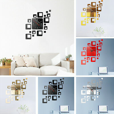 Acrylic Modern DIY Wall Clock 3D Mirror Surface Sticker Home Office Decor 5Color
